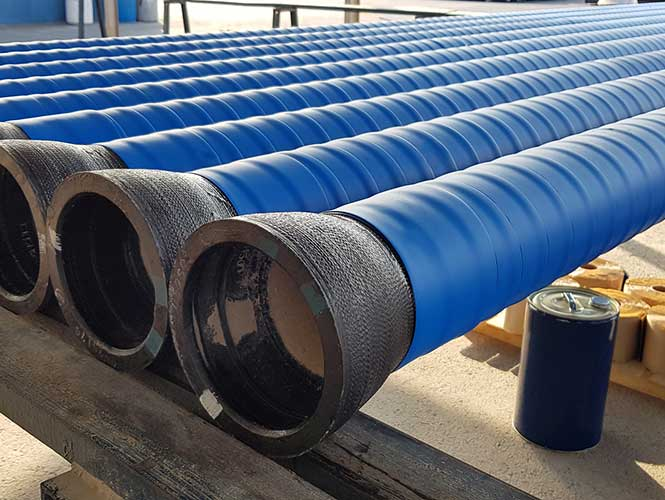 Premcote Tape applied to pipe sections