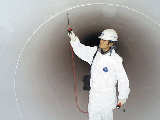 Archco 400 used to line steel or concrete pipes and tanks