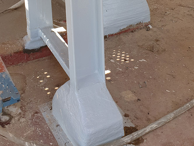 Steelcoat Column Base Protection System completed
