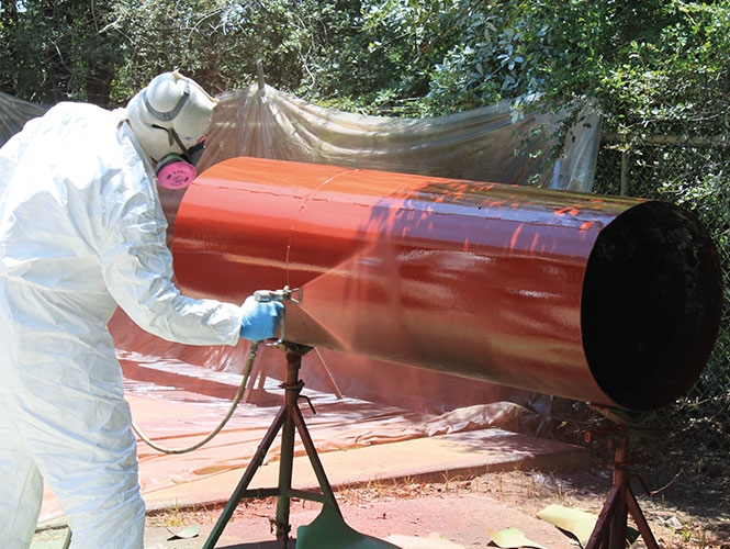 Protal 650 CTR spray applied to a steel pipe section
