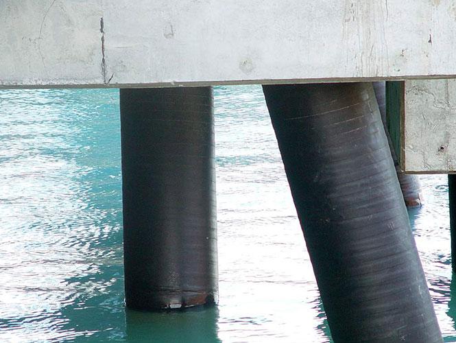 SeaShield 80 system protecting marine piles