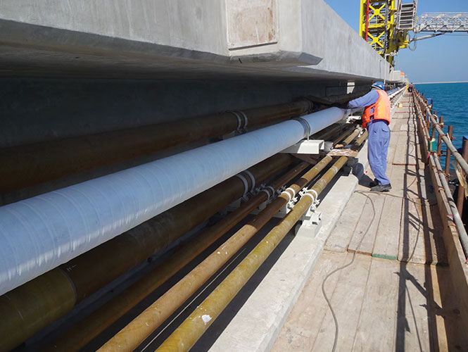 Steelcoat 400 used to protect a jetty pipeline